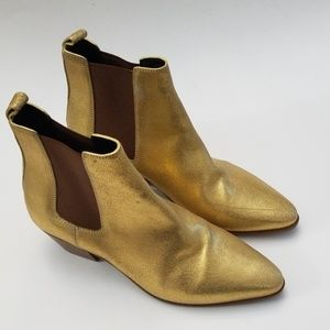 Saint Laurent Gold Chelsea Boots Size 35.5